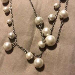 Express Jewelry - Express silver pearl necklace
